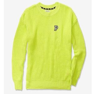 VS PINK Heritage Chunky Knit Sweater L neon citrus